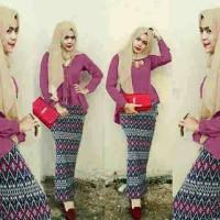 Hijab Peplum Tribal Magenta Set 3in1