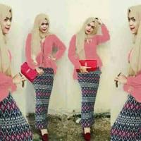 Hijab Peplum Tribal Peach Set 3in1