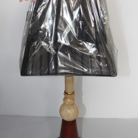 Lampu Meja Kayu Onyx Minimalis [Kap Hitam]