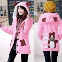 Jaket Funny Bear & Rabbit Pink