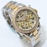 Jam Tangan Rolex Daytona Chrono SIlver Gold Kw super