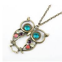 kalung burung hantu dengan hiasan permata import korea - FAS041