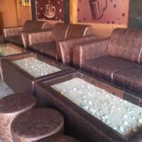 harga meja sofa cafe / set sofa cafe motif batik / meja kerang Tokopedia.com