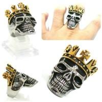 Fashion Man Skull Ring King Crown Gold Raja Cincin Tengkorak
