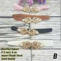 Paket Set Belt Ikat Pinggang Plat Leaf Gold Chain BKK Sakura