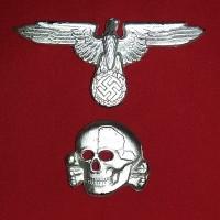 Emblem Waffen SS Cap Badge Totenkopf SILVER
