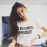 "Tumblr Tee / T-shirt / Kaos ""No Boyfriend No Problem"" in White"
