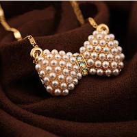 kalung pita mutiara / pearl bow necklace import korea jewelry - fas044