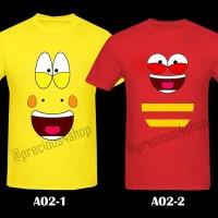 Red & Yellow LARVA Cartoon Anime Cute Face Kaos Couple Family T-Shirt