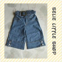 Celana Jeans Anak Perempuan (Model Kulot 7/8 Motif Salur Polos)