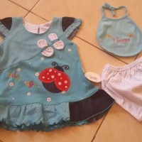 baju bayi perempuan set biru