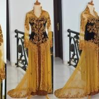 Kebaya ekor pengantin modern beludru tile brokat pre wedding muslimah
