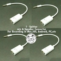 I Spitter - Kabel Jack Male 2 Female Pemisah Mic Headset Mac Ipad HP