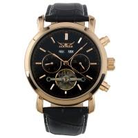 ESS Luxury Men Leather Strap Automatic Mechanical Watch - WM298 - Blac