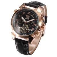 ESS Luxury Men Leather Strap Automatic Mechanical Watch - WM183 - Blac