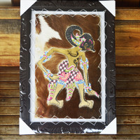 Lukisan Wayang Pandawa Werkudara Bima, Ukuran Besar Kulit Kambing ASLI
