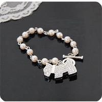 gelang mutiara dengan bandul anjing import korea bracelet - fas047