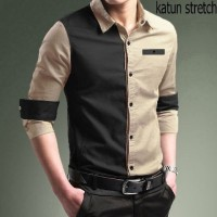 Baju Atasan HEM PRIA / Kemeja kantor KOMBO KHAKY kombinasi hitam keren