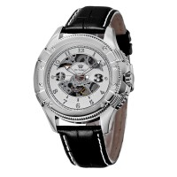 Ouyawei Skeleton Leather Strap Automatic Mechanical Watch - OYW1227 -