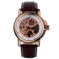 Ouyawei Skeleton Leather Strap Automatic Mechanical Watch - OYW1039 -