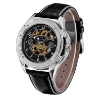 Ouyawei Skeleton Leather Strap Automatic Mechanical Watch - OYW1227 -