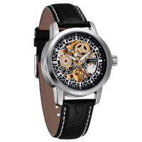 Ouyawei Skeleton Leather Strap Automatic Mechanical Watch - OYW1302 -