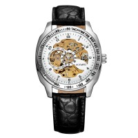 Ouyawei Skeleton Leather Strap Automatic Mechanical Watch - OYW1216 -