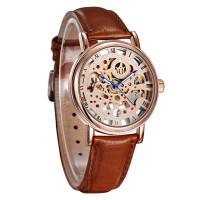 Ouyawei Skeleton Leather Strap Automatic Mechanical Watch - OYW1218 -