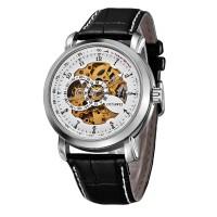 Ouyawei Skeleton Leather Strap Automatic Mechanical Watch - OYW1306 -