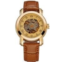 Ouyawei Skeleton Leather Strap Automatic Mechanical Watch - OYW1328 -