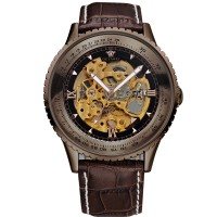 Ouyawei Skeleton Leather Strap Automatic Mechanical Watch - OYW1335 -