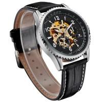 Ouyawei Skeleton Leather Strap Automatic Mechanical Watch - OYW1322 -