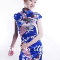 baju satin cheongsam long blue for formal and casual event