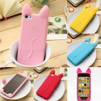 KOKO CAT KOREA Cute Ear Cat soft silicone Case For IPhone 5C