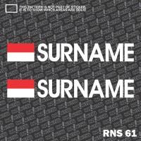 Jual RNS61 custom nama cutting sticker balap motor racing bendera indonesia Murah