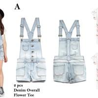 Baju anak cewek Zara 4A Light Denim Overall White Tee