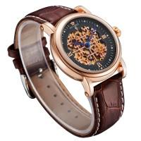 Ouyawei Skeleton Leather Strap Automatic Mechanical Watch - OYW1343 -