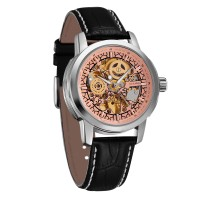 Ouyawei Skeleton Leather Strap Automatic Mechanical Watch - OYW1302 -