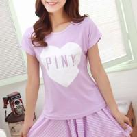 STLN270 - Setelan Rok Celana Purple PINK Love