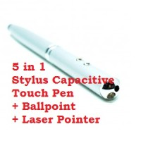 5 in 1 Stylus Capacitive Touch Pen + Ballpoint + Laser Pointer - Silve
