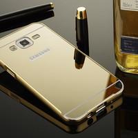 Samsung Galaxy J5 Mirror Metal Bumper Back Cover Case - Gold