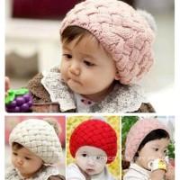Jual Topi Bayi Kupluk Rajut Bulu Bulat Murah