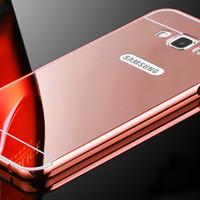 Samsung Galaxy J7 Mirror Metal Bumper Back Cover Case - Rose gold