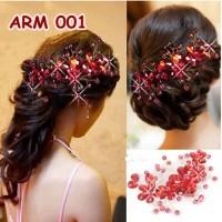 Jual Aksesoris Sanggul Pesta Merah-Hiasan Headpiece Rambut Pengantin-ARM001 Murah