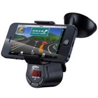 harga 3 In 1 Bluetooth Handsfree Fm Transmitter Smartphone Holder - Black Tokopedia.com
