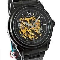 Jual jam tangan pria ROLEX skeleton rantai black Murah
