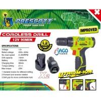 Mesin Bor Charge PRESCOTT 12 VOLT / Bor Cordless / Bor tanpa Kabel