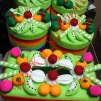SET TOPLES FLANEL - FELT GREEN FRUITS PARTY