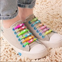 Tali Sepatu Inovatif Dari Karet Silikon Warna-warni Ceria (Isi 6 Pcs)