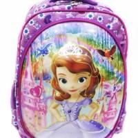 Tas Ransel Sekolah Anak SD 6D Timbul Princess Sofia the First 2 Ruang
